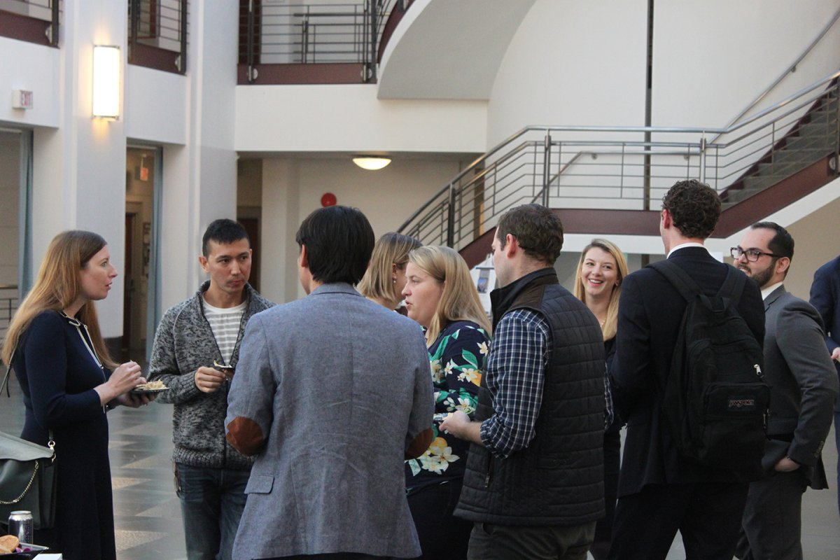A group of law students in the atrium