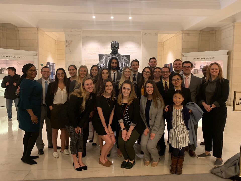 group of CUA Law students at the Supreme Court of the United States